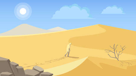 Gorgeous Egypt or arabian country desert landscape with large scorching sun on blue sky background. Colorful vector illustration.