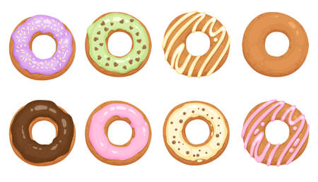 Donuts glazed with colorful sugar and chocolate icing and topped with sprinkles lying isolated on white background. Tasty fried dough confectionery or dessert. Vector illustration.