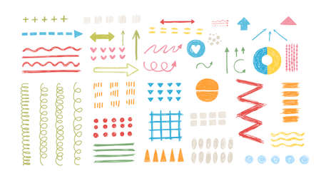 Various sketchy Doodle Arrows, Direction pointers Shapes and Objects. Freehand colorful Lines, curves, dots, spiral. Brush stroke style. Grunge texture. Hand drawn abstract Vector set.