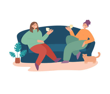Smiling woman friends drinking tea at home vector flat illustration. Happy female laughing and gossiping sit on comfortable couch isolated. People spending time together having friendly conversation 矢量图像