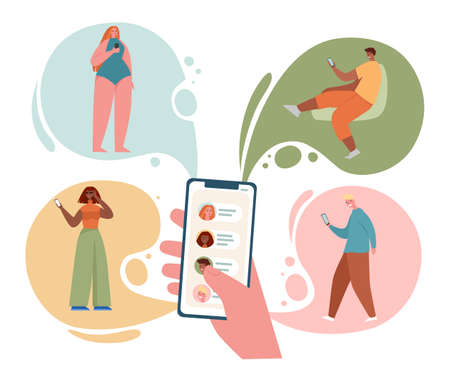 Concept of sharing news, refer friends online. Hand holding smartphone with contacts on screen. Person forwards messages to friends or colleagues. Vector illustration in flat cartoon style