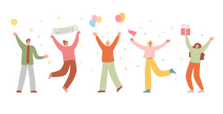 Group of happy people raising hands celebrating holiday with colorful confetti vector flat illustration. Woman hold gift box having fun with friends isolated. Person with balloons and flag 矢量图像