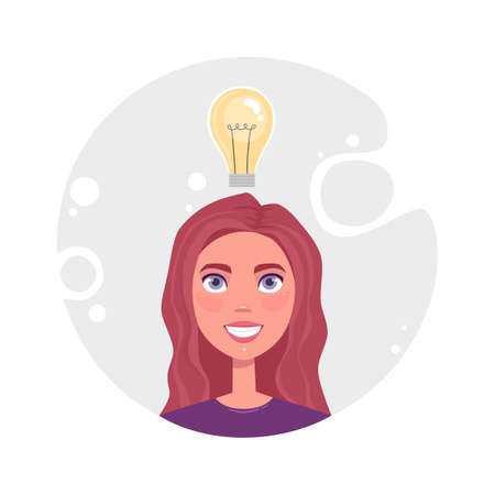 Concept of productive self organization cute girl, effective time management, organize work. Woman idea bulb, read email. Flat vector cartoon illustration isolated on grey background 矢量图像