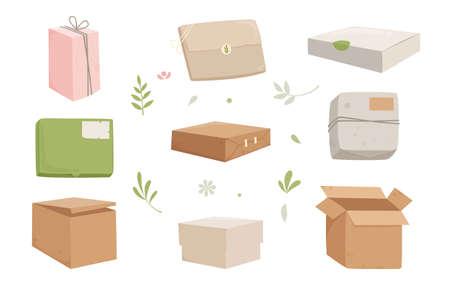 Box cardboard icons set cartoon vector. Carton delivery package