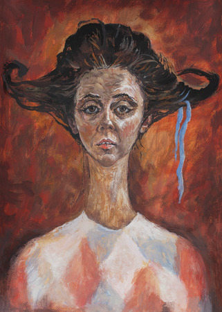 actress: Symbolic art portrait of the actress who played the role in the style travesty
