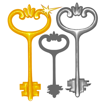assignments: Vector illustration of a set of three keys in a traditional style on a white background