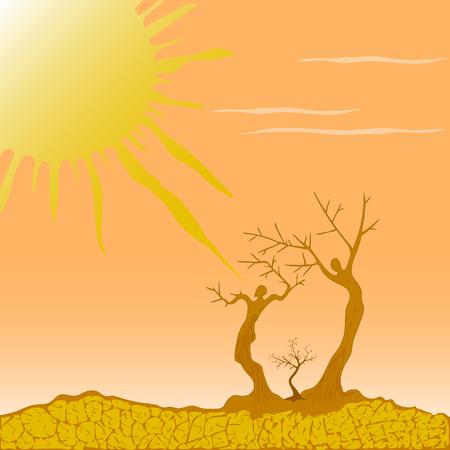 Vector illustration of a desert symbolizing the struggle for lif