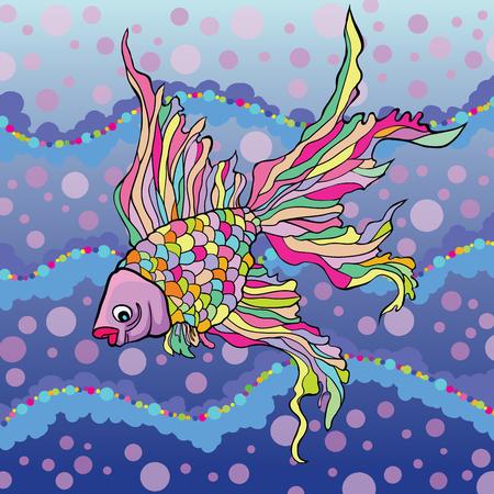 fingerling: Vector illustration of decorative aquarium fish on the background of water Illustration
