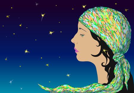 Profile of a young romantic girl in a motley kerchief against the starry sky.