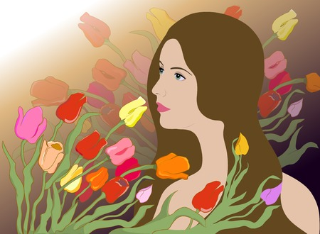 Romantic illustration of a girl with long hair against a background of tulips Illustration
