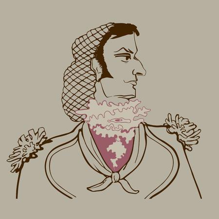 jabot: Portrait in profile of Figaro in sepia style