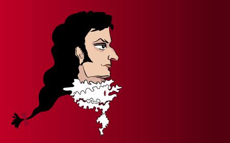 jabot: Vector portrait of an aristocrat of the Baroque era