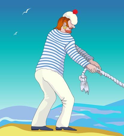 Retro illustration of a sailor