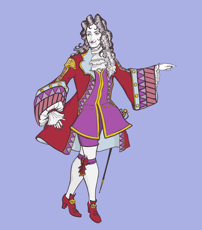 Stylized  color portrait of an aristocrat of the Baroque era