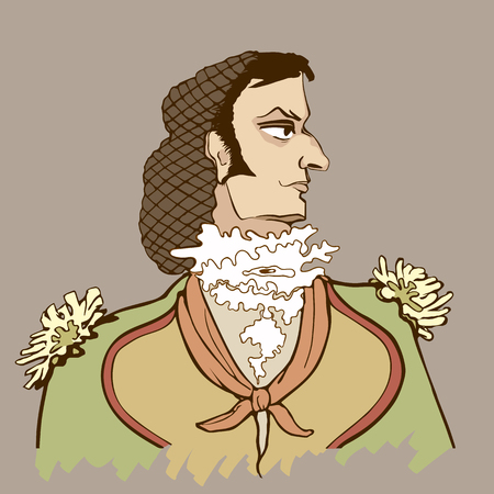 jabot: Figaros portrait in grisel style illustration. Illustration
