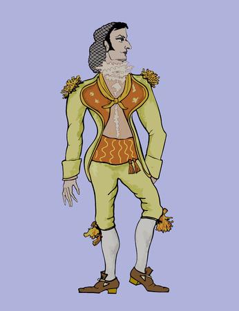 Vector illustratie van een schilderachtig beeld van Figaro op een witte achtergrond
