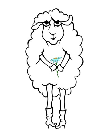 Vector sketch of a fairy lamb with chamomile Illustration