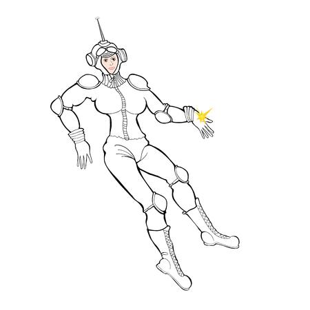 Vector illustration sketch of a female astronaut Illustration