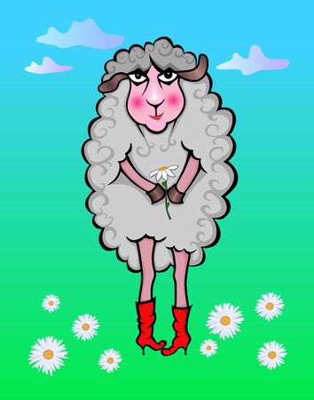 Vector illustration of a fairy lamb with chamomile on a color background Illustration