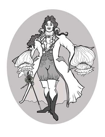 Black and white figure of a Baroque man