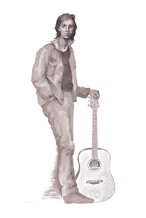 Portrait of a young guitarist performed with a pencil Stock Photo