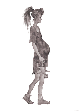 A pregnant beggar girl in rags with a doll in her hands symboliz Stock Photo