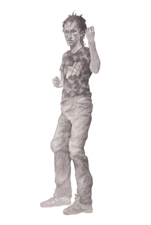 Young rowdy man, drawn in pencil Stock Photo