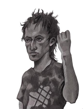 Portrait of a hulligan drawn in pencil