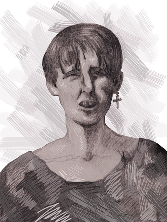 Portrait of a young bully drawn in pencil
