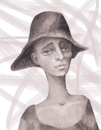 Portrait of a beggar child painted with a pencil Stock Photo