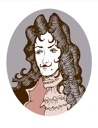 Vector portrait of an aristocrat nobleman in baroque style decorated in an oval