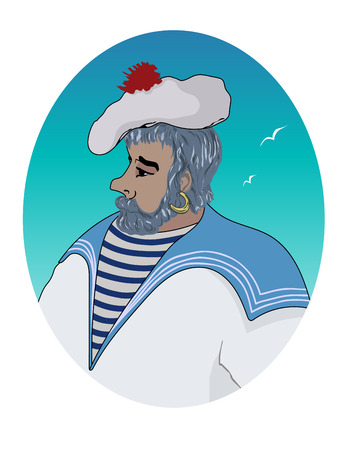Vector illustration portrait of a sailor in oval on a colored background