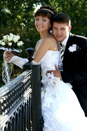 newly married together in a photo pose