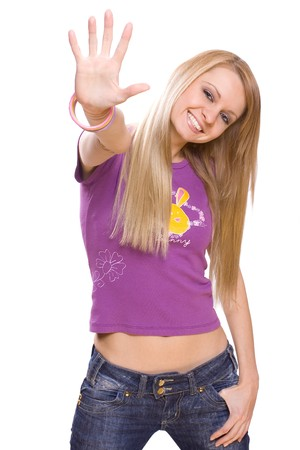 young woman on a white background give a five photo