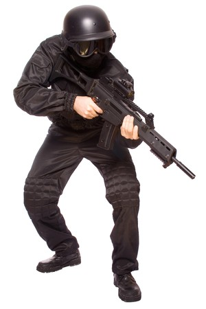 noises: one soldier with the gun in the hands on a white background Stock Photo