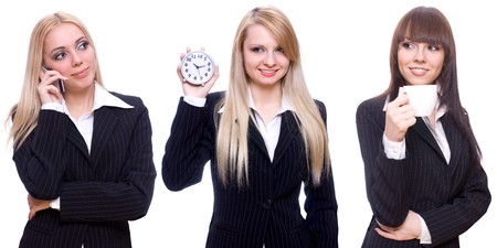 three business women with a phone, a cup and a clock on a white background photo