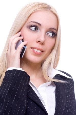 young business woman calling on a white background photo
