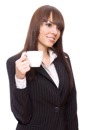 young woman business with cup of tea on a white background photo