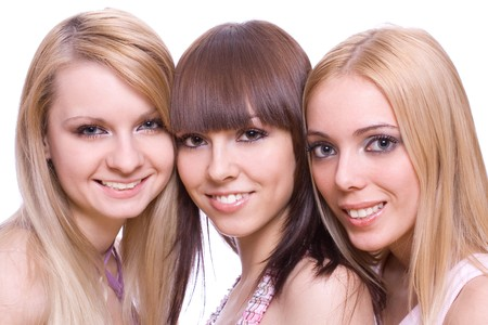 three girlfriends together on a white background