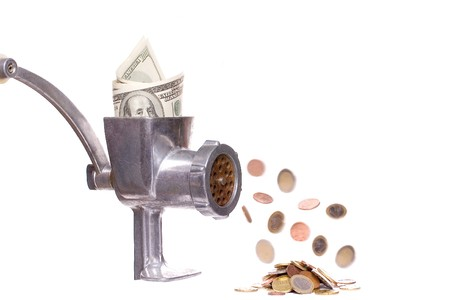 meat chopper with dollars on a white background photo