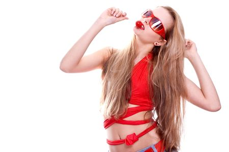 woman in a red dress with the glasses on a white background photo