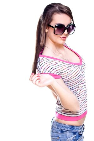 woman in a pink shirt with the glasses on a white background Banque d'images