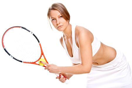 beautiful girl with tennis racket on a white background Stock Photo - 5189391