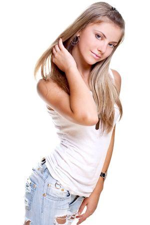 Mooie vrouw in een spijker broek met hond tag op een witte achtergrond geïsoleerd  Stockfoto - 5334790