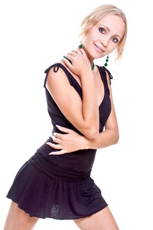 woman in a black dress posing on a white background Stock Photo - 5411822