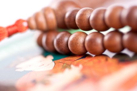wooden beads are on the picture as a background Stock Photo