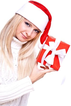 christmas woman with holiday gift on a white background photo