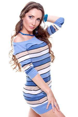 beautiful woman in a striped dress on a white background isolated photo