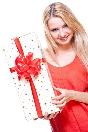 beautiful woman with holiday gift on a white background Banque d'images