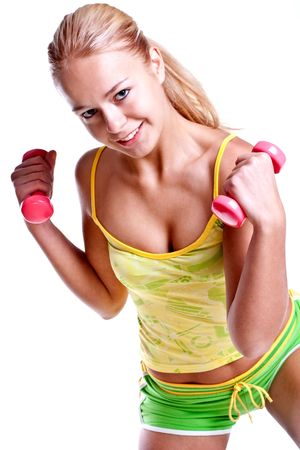 pink dumbbells in the hands of women on a white background Stock Photo
